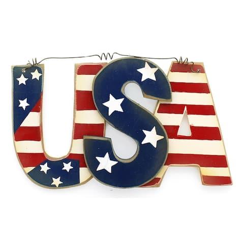 "Darice Wood Wall Deco USA 8.25x4.25"" Star/Stripe"