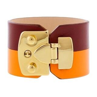 Stamerra BOSSA NARANCIA Bordeaux/Orange Genuine Leather Cuff Bracelet