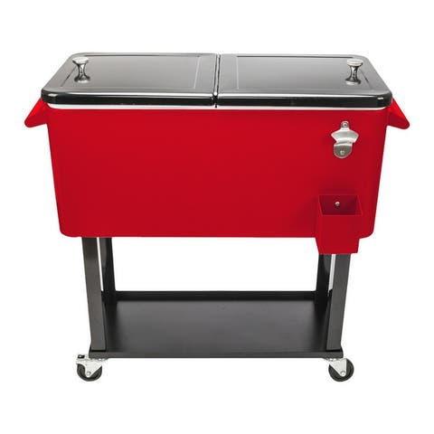 80 Qt Iron Cooler Cart Red & Black - 80 Qt