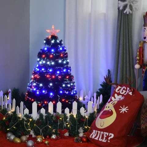 3' H Artificial Tabletop Christmas Tree Multi-Colored Fiber Optic LED Pre-Lit Holiday Home Decoration