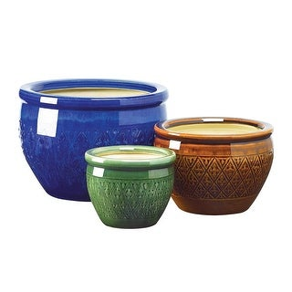 Vintage Jewel-Tone Flower Pot Trio