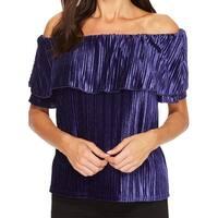 Sanctuary Purple Womens Size XS Off Shoulder Velvet Pleated Blouse