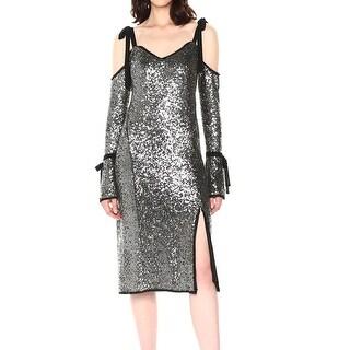 Rachel Roy Silver Womens Size 6 Sequin Cold-Shoulder Sheath Dress