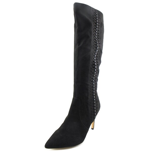 Thalia Sodi Romiina Women Pointed Toe Canvas Black Knee High Boot