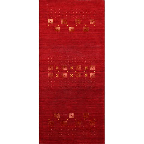"Red Tribal Modern Gabbeh Oriental Runner Rug Wool Handmade Carpet - 2'4"" x 4'9"""