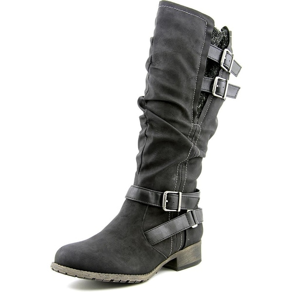 Jellypop Chandler Women Round Toe Synthetic Black Mid Calf Boot