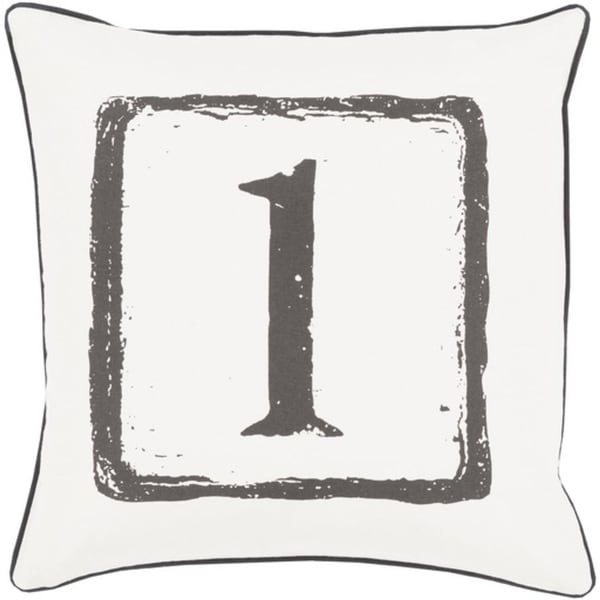 "22"" Jet Black and White ""1"" Big Kid Blocks Decorative Throw Pillow - Down Filler"
