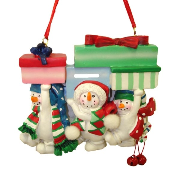 Snowman Family Of Three With Presents Christmas Ornament #W3489