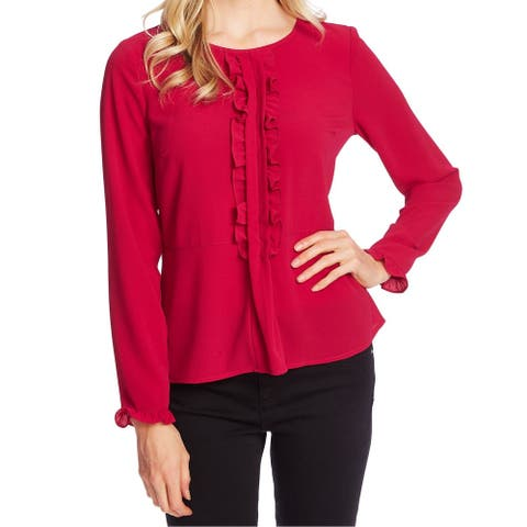 CeCe Womens Blouse Magenta Pink Size Large L Crepe Pleat Ruffle Sleeve