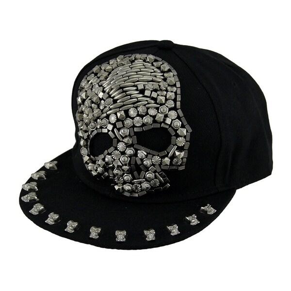 156e6069f4b Urban Bling Beaded Skull Black Snapback Hat w Skull Lined Peak - One Size