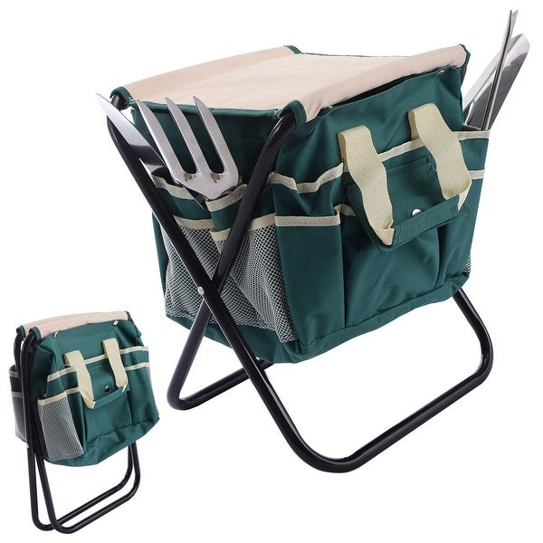 Costway 7PC Stainless Steel Garden Tool Bag Set Folding Stool Tools   Green