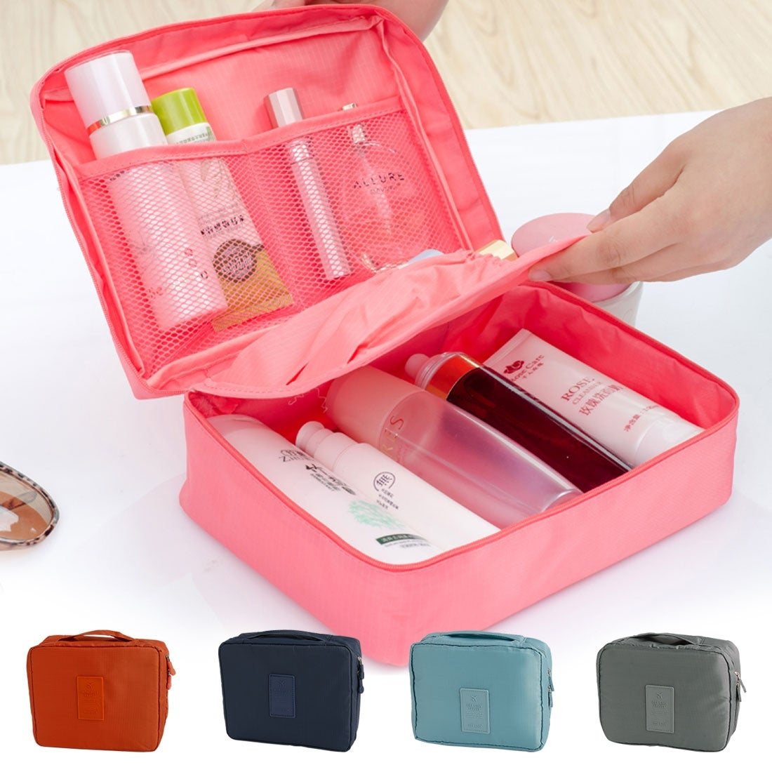 Travel Trip Cosmetic Soap Shampoo Tooth Brush Organize Storage Bag Light Gray