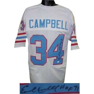 Earl Campbell signed White TB Custom Stitched Pro Style Football Jersey HOF 91 XL (black sig)- JSA Hologram