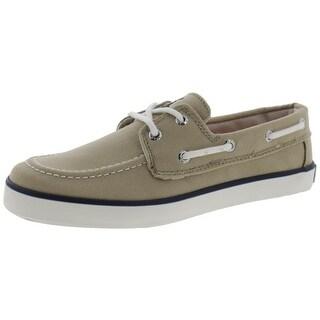 Polo Ralph Lauren Boys Sander  Boat Shoes Contrast Trim Canvas - 3.5 medium (d)