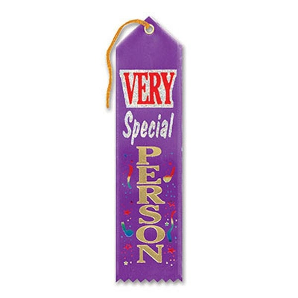 """Pack of 6 Purple """"Very Special Person Award"""" School Award Ribbon Bookmarks 8"""""""