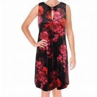 Tommy Hilfiger Black Womens Size 4 Velvet Floral Sheath Dress