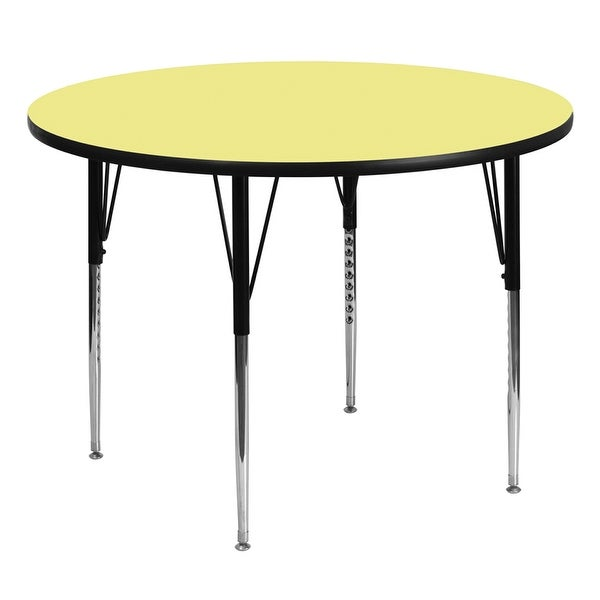 Offex 60'' Round Activity Table with Yellow Thermal Fused Laminate Top and Standard Height Adjustable Legs - N/A