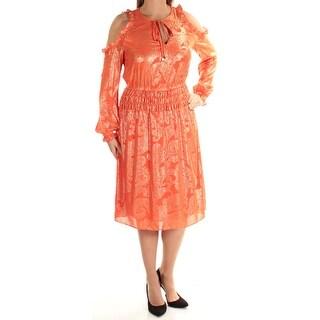 Womens Orange Printed Long Sleeve Below The Knee Fit + Flare Dress Size: L
