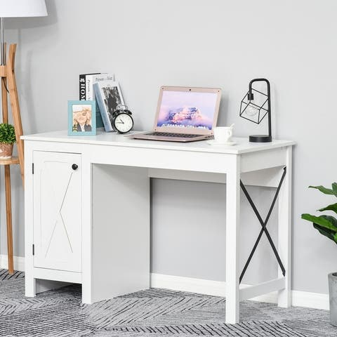 HOMCOM Computer Table Desk, Writing Workstation with Cabinet with Metal X-Bar for Living Room or Office