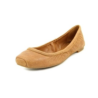 Lucky Brand Santana Women Square Toe Leather Brown Flats