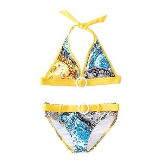 Azul Girls Yellow Urban Boho Paisley Halter 2 Pc Bikini Swimsuit