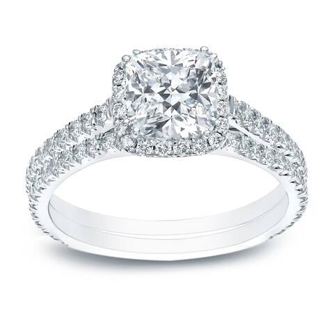 Auriya 14k Gold 2 ct. TDW Cushion-cut Halo Diamond Wedding Ring Set