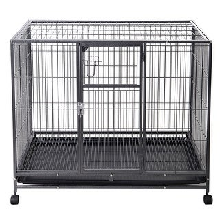 Gymax 44'' Heavy Duty Dog Crate Kennel Metal Wire Pet Playpen