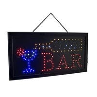 Hanging Electric LED Lighted Animated BAR Sign 19 X 10 Inch