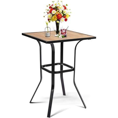 Suncrown Outdoor Wooden Top Bar Table