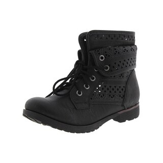 Rock and Candy by Zigi Womens Laser Cut Combat Boots Faux Leather Fold Over (4 options available)