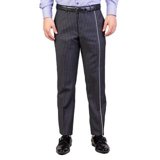 Dior Homme Men's Skinny Fit Striped Dress Pants Pinstriped Grey