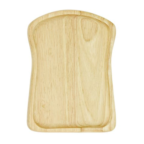 Handmade Cute Toast Bread Shaped Native Natural Wood Hand Carved Plate (Thailand)