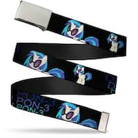 Blank Chrome Buckle DJ Pon 3 Black Blues Webbing Web Belt