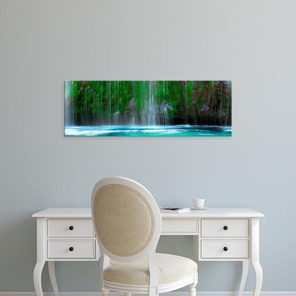 Easy Art Prints Panoramic Image 'Waterfall, Mossbrae Falls, Sacramento River, Dunsmuir, Siskiyou' Canvas Art