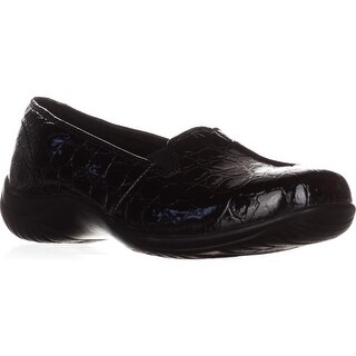 Easy Street Purpose Slip-On Flats, Black Patent Croc