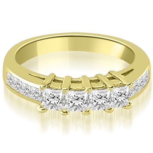 1.35 cttw. 14K Yellow Gold Channel Set Princess Cut Diamond Wedding Band
