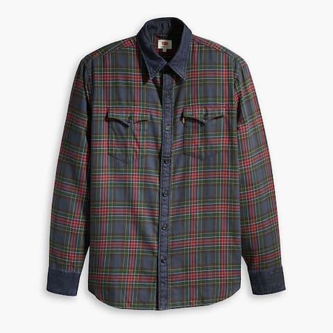 Levis Modern Barstow Check Shirt Denim Collar Cotton Poly Flannel Plaid 57406