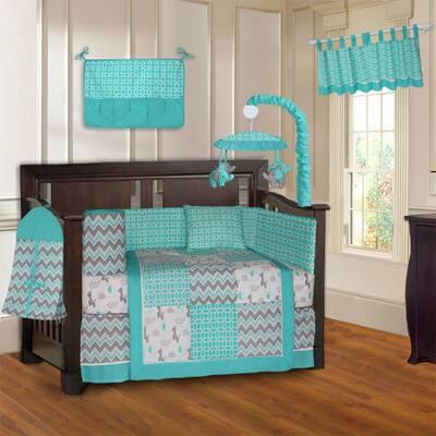 BabyFad Animal Print Turquoise 10 Piece Crib Bedding Set
