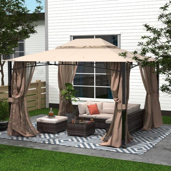 Amarantos Patio Gazebo With Mosquito Netting Outdoor Gazbeo Canopy 10x12 Backyard Double Roof Vented Overstock 32033150
