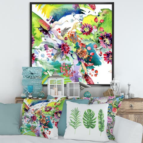 Designart 'Vibrant Wild Spring Leaves and Wildflowers X' Modern Framed Canvas Wall Art Print