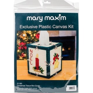 "Christmas Tissue Box Plastic Canvas Kit-5"" 7 Count"