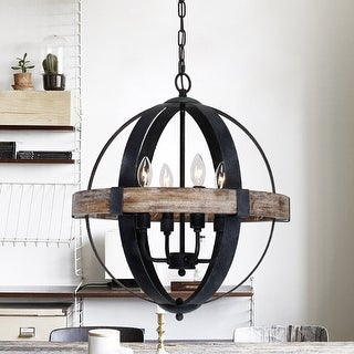 Link to Farmhouse Weathered Oak Wooden 4-Light Orb Chandelier Similar Items in Chandeliers