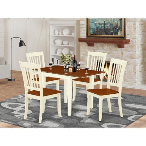 Rectangle Dining Table and Dinette Chairs for Dining Room with Hardwood Seat - Buttermilk and Cherry Finish (Pieces Option)