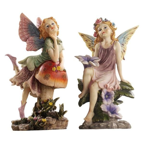 Design Toscano The Fairy Dust Twins Garden Collection: Mushroom & Flower
