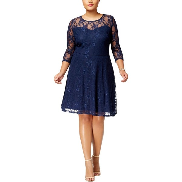 Love Squared Womens Plus Party Dress Lace Overlay Ruched