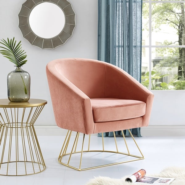Inspired Home Sabrina Velvet Accent Chair with Metal Base. Opens flyout.