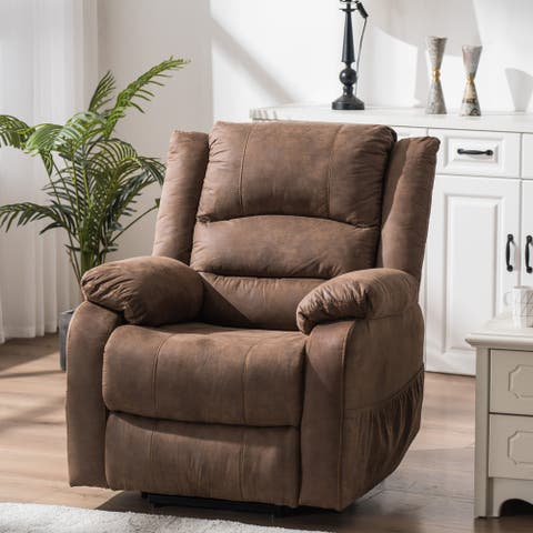 Electric lift function chair with massage light brown PU combination