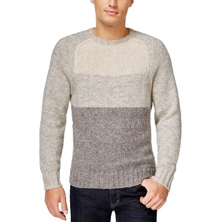 Club Room Colorblock Knit Crewneck Sweater Silverbirch and Grey Small S