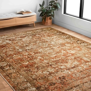 Link to Alexander Home Luciano Tobacco Oriental Indoor/ Outdoor Distressed Rug Similar Items in Transitional Rugs