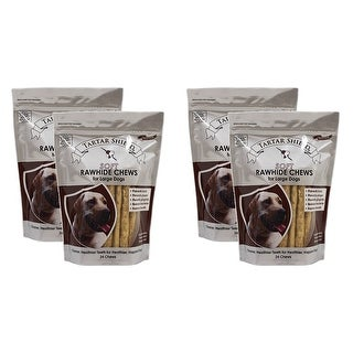 Tartar Shield Soft Rawhide Chews for Large Dogs 24 Count 4 Pack